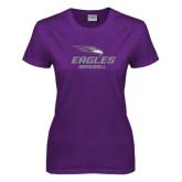 Ladies Purple T-Shirt-Baseball