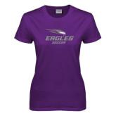 Ladies Purple T-Shirt-Soccer