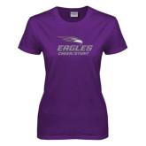 Ladies Purple T-Shirt-Cheer and Stunt