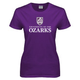 Ladies Purple T Shirt-Institutional Mark Stacked