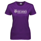 Ladies Purple T-Shirt-Institutional Mark Clarksville Arkansas