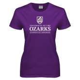 Ladies Purple T Shirt-Institutional Mark Clarksville Arkansas Stacked