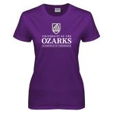 Ladies Purple T-Shirt-Institutional Mark Clarksville Arkansas Stacked