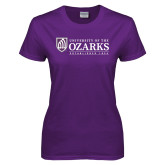 Ladies Purple T Shirt-Institutional Mark Established 1834