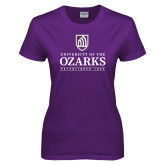 Ladies Purple T Shirt-Institutional Mark Established 1834 Stacked