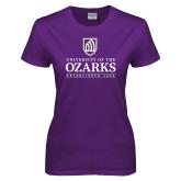 Ladies Purple T-Shirt-Institutional Mark Established 1834 Stacked