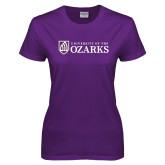 Ladies Purple T-Shirt-Primary Mark