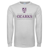 White Long Sleeve T Shirt-Institutional Mark Clarksville Arkansas Stacked