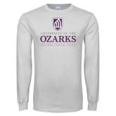 White Long Sleeve T Shirt-Institutional Mark Established 1834 Stacked