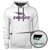 Contemporary Sofspun White Hoodie-Eagles with Head