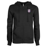 ENZA Ladies Black Fleece Full Zip Hoodie-Shield
