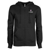 ENZA Ladies Black Fleece Full Zip Hoodie-Institutional Mark Stacked