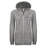 ENZA Ladies Grey/Black Marled Full Zip Hoodie-Eagles with Head