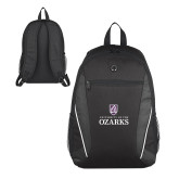 Atlas Black Computer Backpack-Institutional Mark Stacked