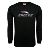 Black Long Sleeve TShirt-Eagles with Head Distressed