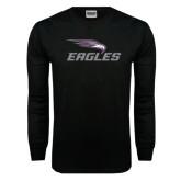 Black Long Sleeve TShirt-Eagles with Head Distressed