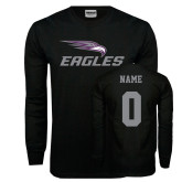 Black Long Sleeve TShirt-Eagles with Head, Custom Tee w/ Name and #