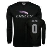 Black Long Sleeve TShirt-Eagles with Head, Custom Tee w/ Name and #