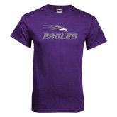 Purple T Shirt-Eagles with Head Distressed
