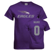 Purple T Shirt-Eagles with Head, Custom Tee w/ Name and #