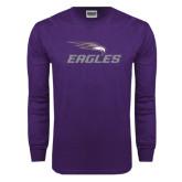 Purple Long Sleeve T Shirt-Eagles with Head
