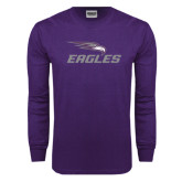 Purple Long Sleeve T Shirt-Eagles with Head Distressed
