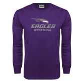 Purple Long Sleeve T Shirt-Wrestling