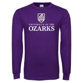 Purple Long Sleeve T Shirt-Institutional Mark Stacked