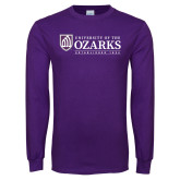 Purple Long Sleeve T Shirt-Institutional Mark Established 1834