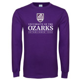 Purple Long Sleeve T Shirt-Institutional Mark Established 1834 Stacked