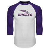 White/Purple Raglan Baseball T Shirt-Eagles with Head