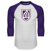 White/Purple Raglan Baseball T Shirt-Shield