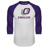 White/Purple Raglan Baseball T Shirt-UO