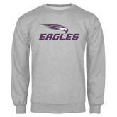 Grey Fleece Crew-Eagles with Head