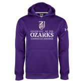 Under Armour Purple Performance Sweats Team Hoodie-Institutional Mark Clarksville Arkansas Stacked