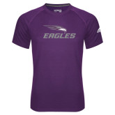 Adidas Climalite Purple Ultimate Performance Tee-Eagles with Head