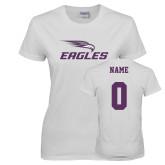Ladies White T Shirt-Eagles with Head, Custom Tee w/ Name and #