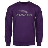 Purple Fleece Crew-Eagles with Head