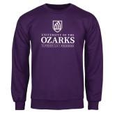 Purple Fleece Crew-Institutional Mark Clarksville Arkansas Stacked