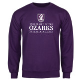Purple Fleece Crew-Institutional Mark Established 1834 Stacked
