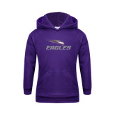 Youth Purple Fleece Hoodie-Eagles with Head