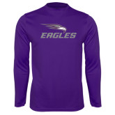 Performance Purple Longsleeve Shirt-Eagles with Head