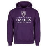 Purple Fleece Hoodie-Institutional Mark Clarksville Arkansas Stacked