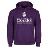 Purple Fleece Hoodie-Institutional Mark Clarksville Arkansas Stacked