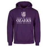 Purple Fleece Hoodie-Institutional Mark Established 1834 Stacked