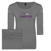 Ladies Grey Heather Tri Blend Lace 3/4 Sleeve Tee-Eagles with Head