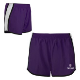 Ladies Purple/White Team Short-Institutional Mark Stacked