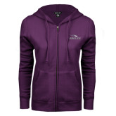 ENZA Ladies Purple Fleece Full Zip Hoodie-Eagles with Head