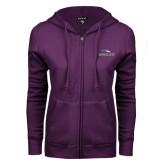 ENZA Ladies Purple Fleece Full Zip Hoodie-Eagles with Head