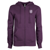 ENZA Ladies Purple Fleece Full Zip Hoodie-Shield